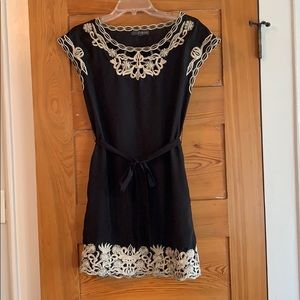 Dresses & Skirts - Black mini dress sz S with embroidered detailing